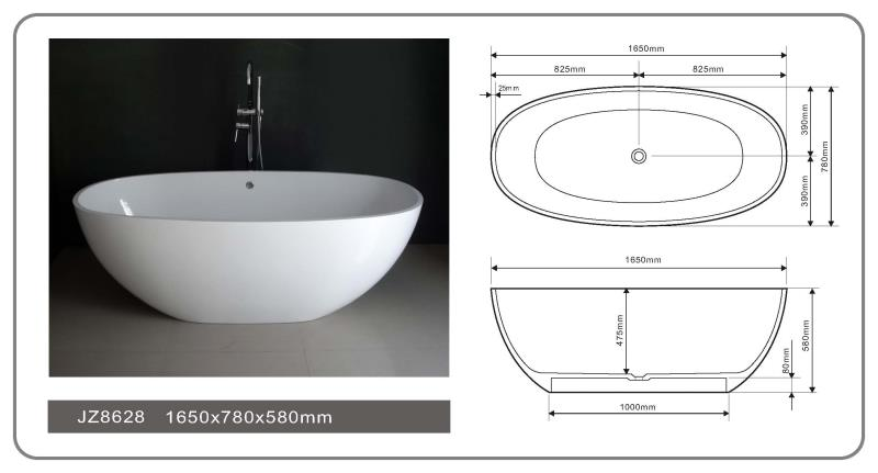 65 Inch Contemporary Solid Surface Freestanding Bathtub JZ8628-1