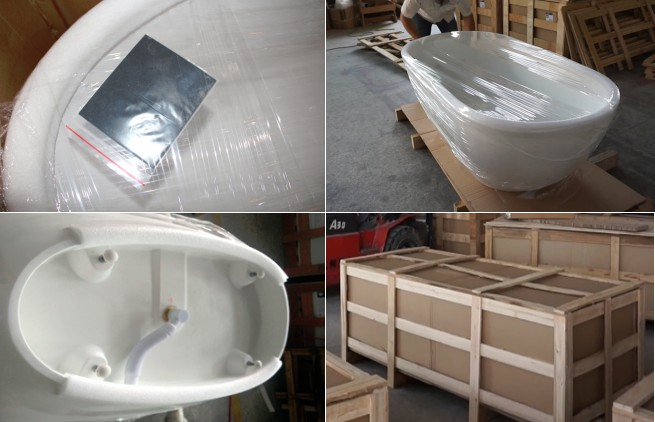 67 Inch Long Oval Standing Alone Solid Surface Bathtub JZ8630-3