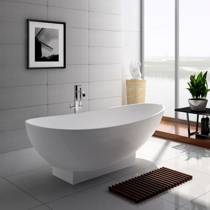 71 Inch Modern Solid Surface Freestanding Soak Bathtub JZ8604