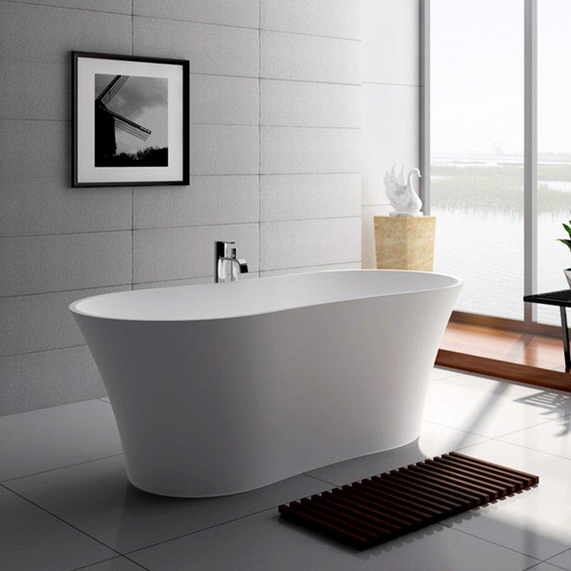 64 Inch Contemporary Solid Surface Soaking Bathtub JZ8601