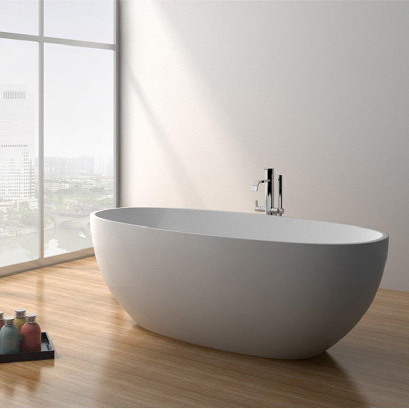 65 Inch Contemporary Solid Surface Freestanding Bathtub JZ8628
