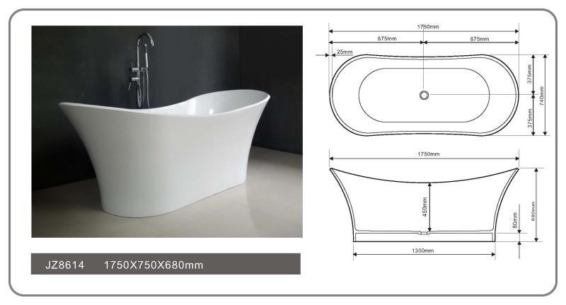 69 Inch New Style Modern Solid Surface Soak Bathtub JZ8614