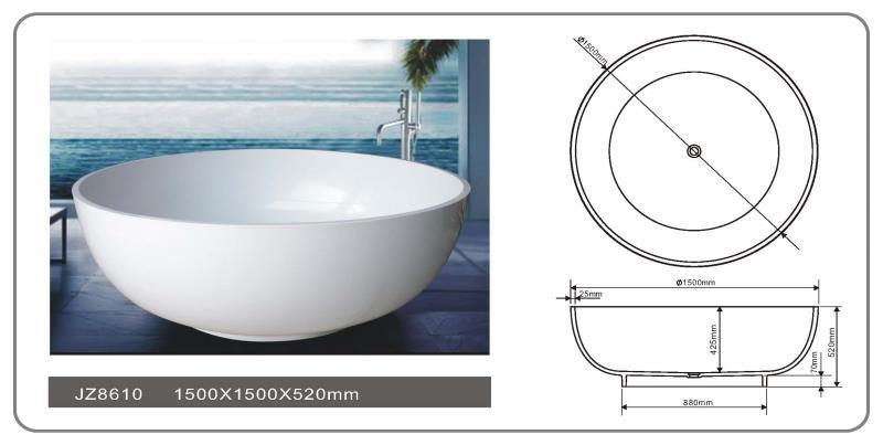59 Inch Round Bowl Solid Surface Freestanding Bathtub JZ8610