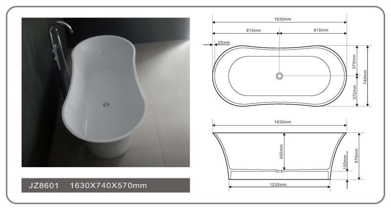 JINGZUN BATH solid surface/stone resin bathtub JZ8601