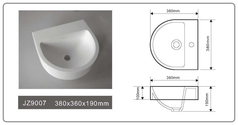 JINGZUN BATH solid surface/stone resin basin/sink JZ9007