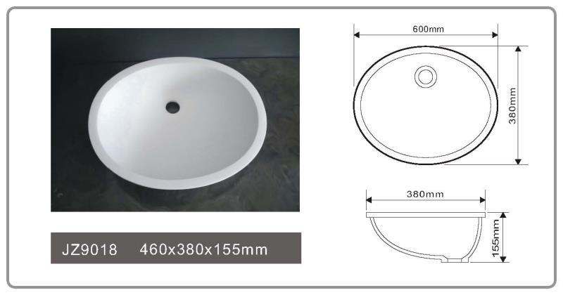 Cast Stone Solid Surface Vessel Countertop Sink JZ9018