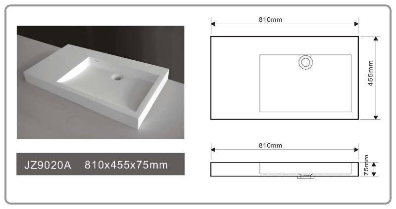 Cast Stone Solid Surface Bathroom Countertop Basin JZ9020a