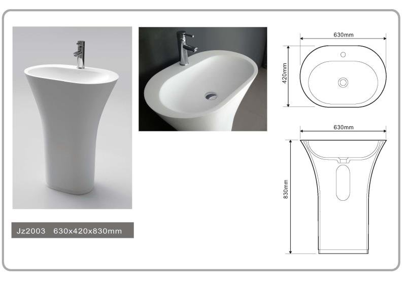 JINGZUN BATH solid surface/stone resin freestanding basin/sink JZ2003