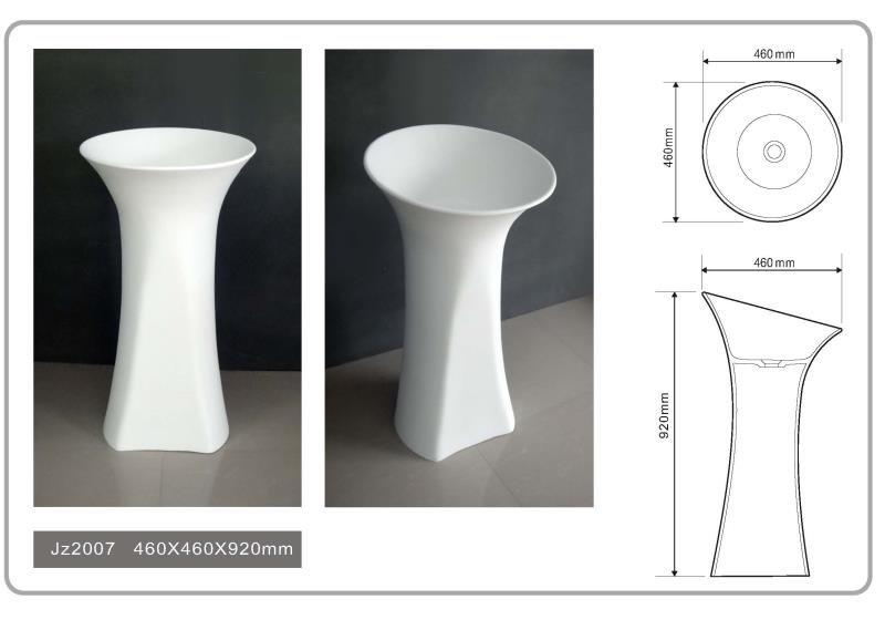 Hot solid surface integrated bathroom sinks jz2010 Solid Surface Wash Basin 20 JINZUN