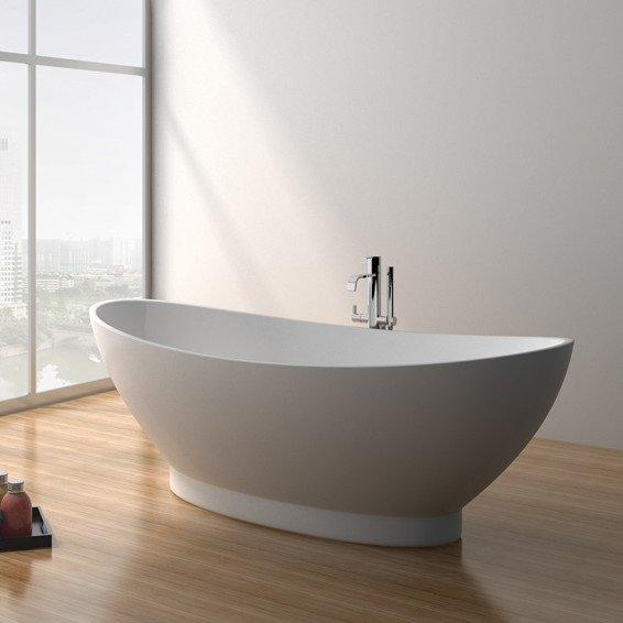71 Inch Modern Solid Surface Soaking Bathtub JZ8620