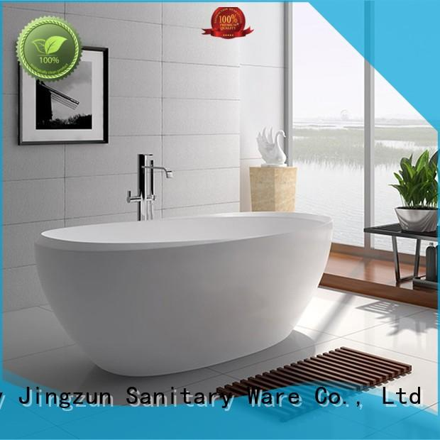 75 Inch Luxury Oval Solid Surface Freestanding Bathtub JZ8639