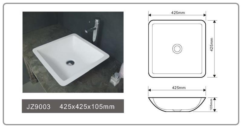 Cast Stone Solid Surface Bathroom Countertop Basin JZ9003-1