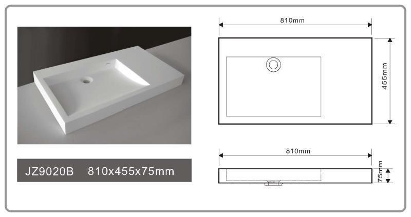JINGZUN BATH solid surface/stone resin basin/sink JZ9020B