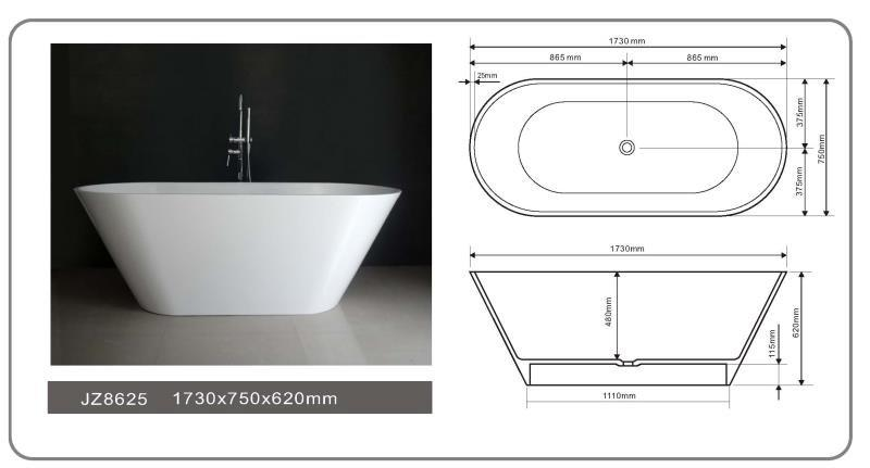 68 Inch Modern Solid Surface Freestanding Bathtub JZ8625-1