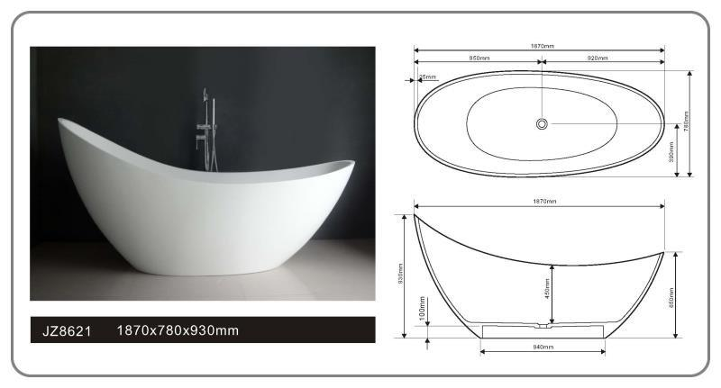 JINGZUN BATH solid surface/stone resin bathtub JZ8621