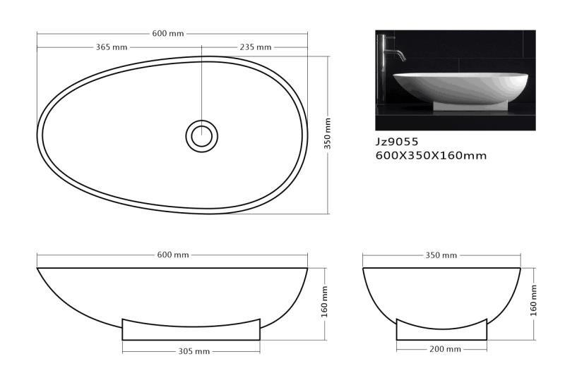 JINGZUN BATH solid surface/stone resin basin/sink JZ9055