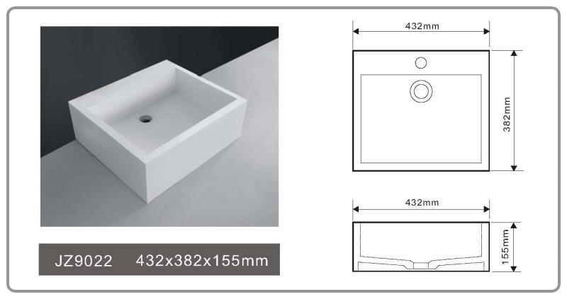 JINGZUN BATH solid surface/stone resin basin/sink JZ9022