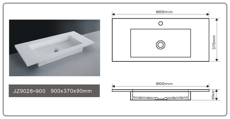 JINGZUN BATH solid surface/stone resin basin/sink JZ9028-900