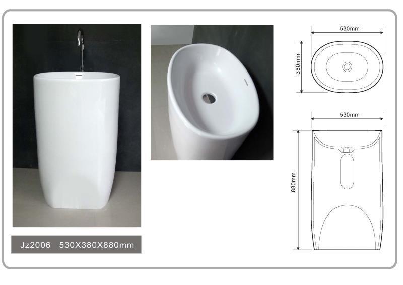 JINGZUN BATH solid surface/stone resin freestanding basin/sink JZ2006