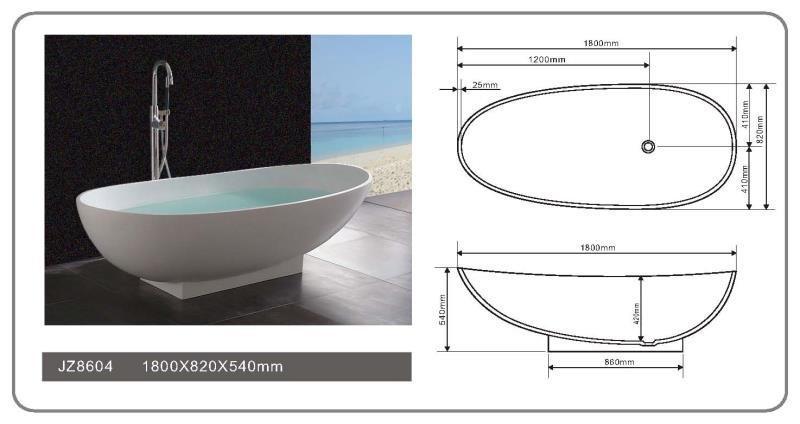JINGZUN BATH solid surface/stone resin bathtub JZ8604