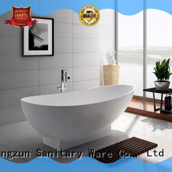 71 Inch Modern Solid Surface Freestanding Soak Bathtub JZ8604