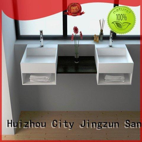 wallhung solid surface vanity sinks bathroom JINZUN