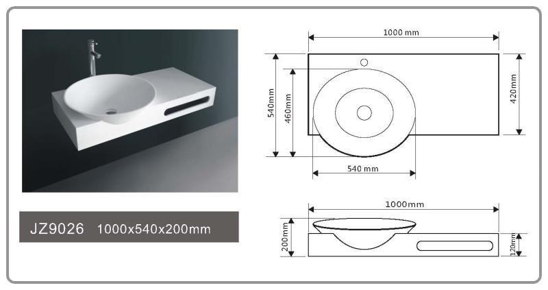 JINGZUN BATH solid surface/stone resin basin/sink JZ9026