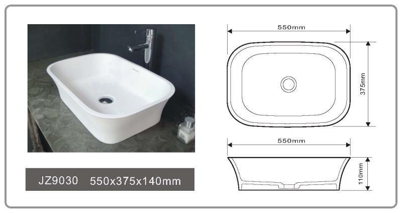 JINGZUN BATH solid surface/stone resin basin/sink JZ9030