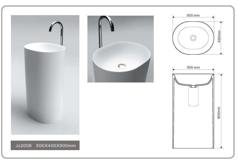 JINGZUN BATH solid surface/stone resin freestanding basin/sink JZ2008