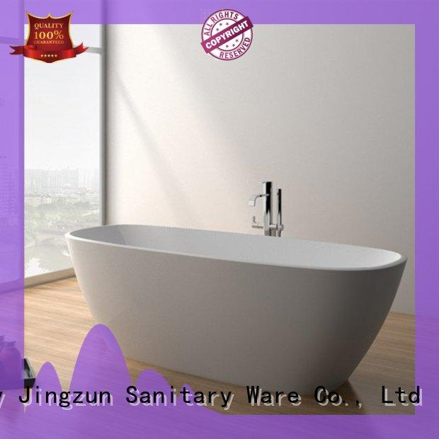 67 Inch Long Oval Standing Alone Solid Surface Bathtub JZ8630