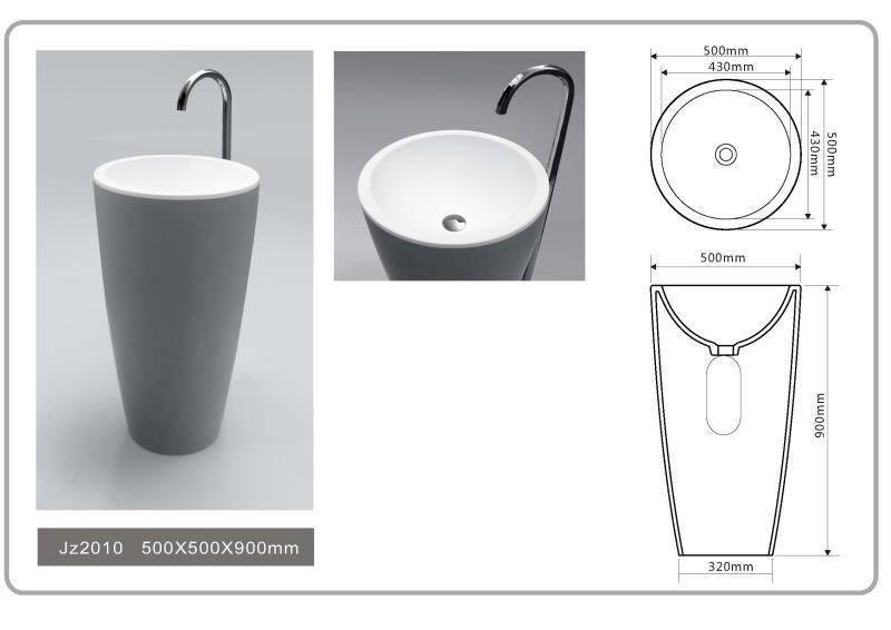 JINGZUN BATH solid surface/stone resin freestanding basin/sink JZ2010