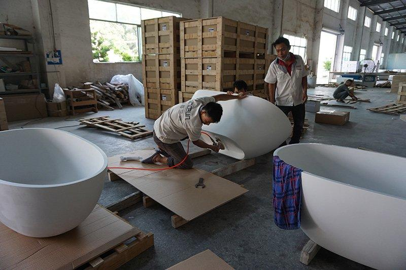 solid surface/ stone resin bathtub packing